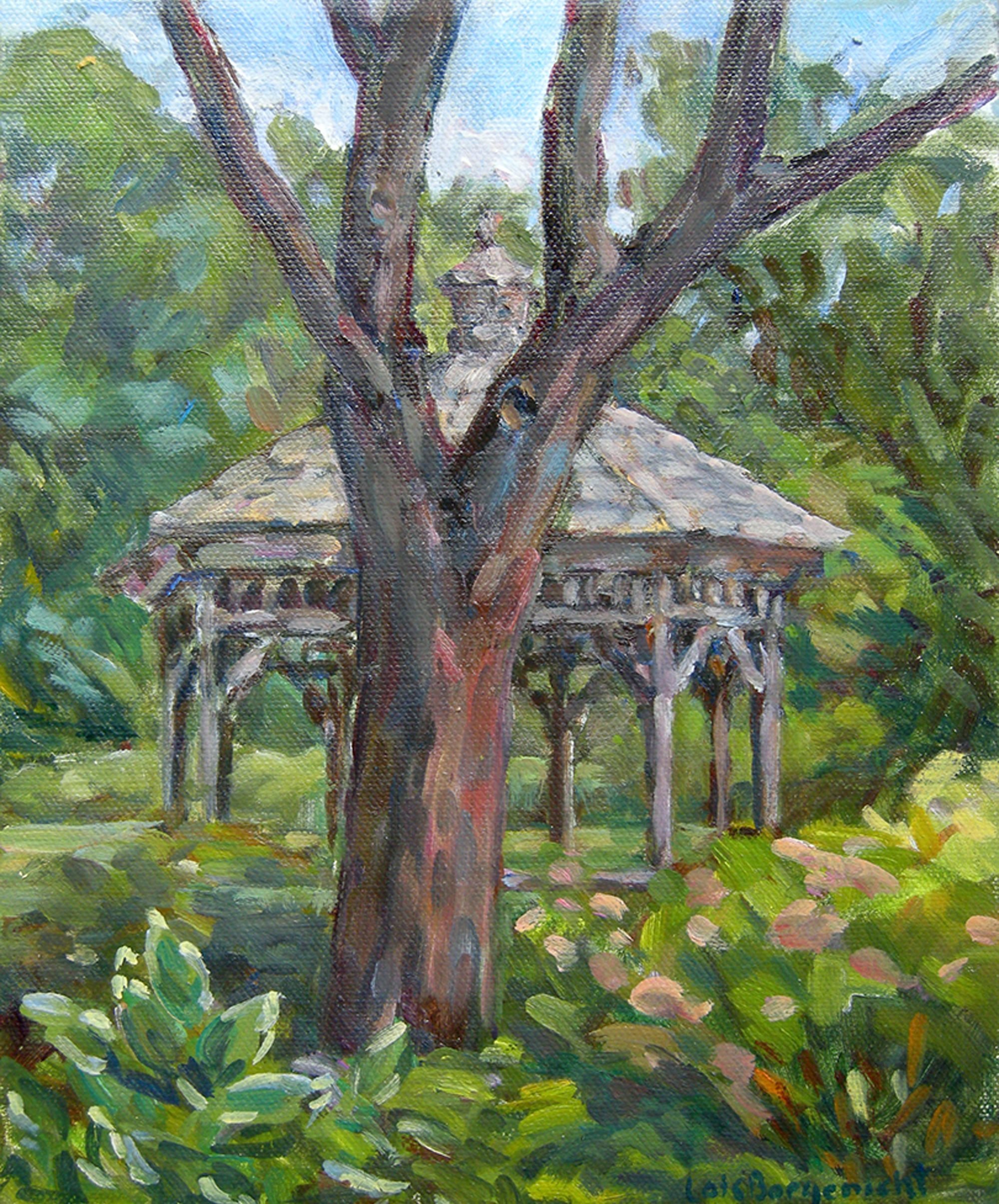 Cylburn Gazebo, oil on canvas, 10