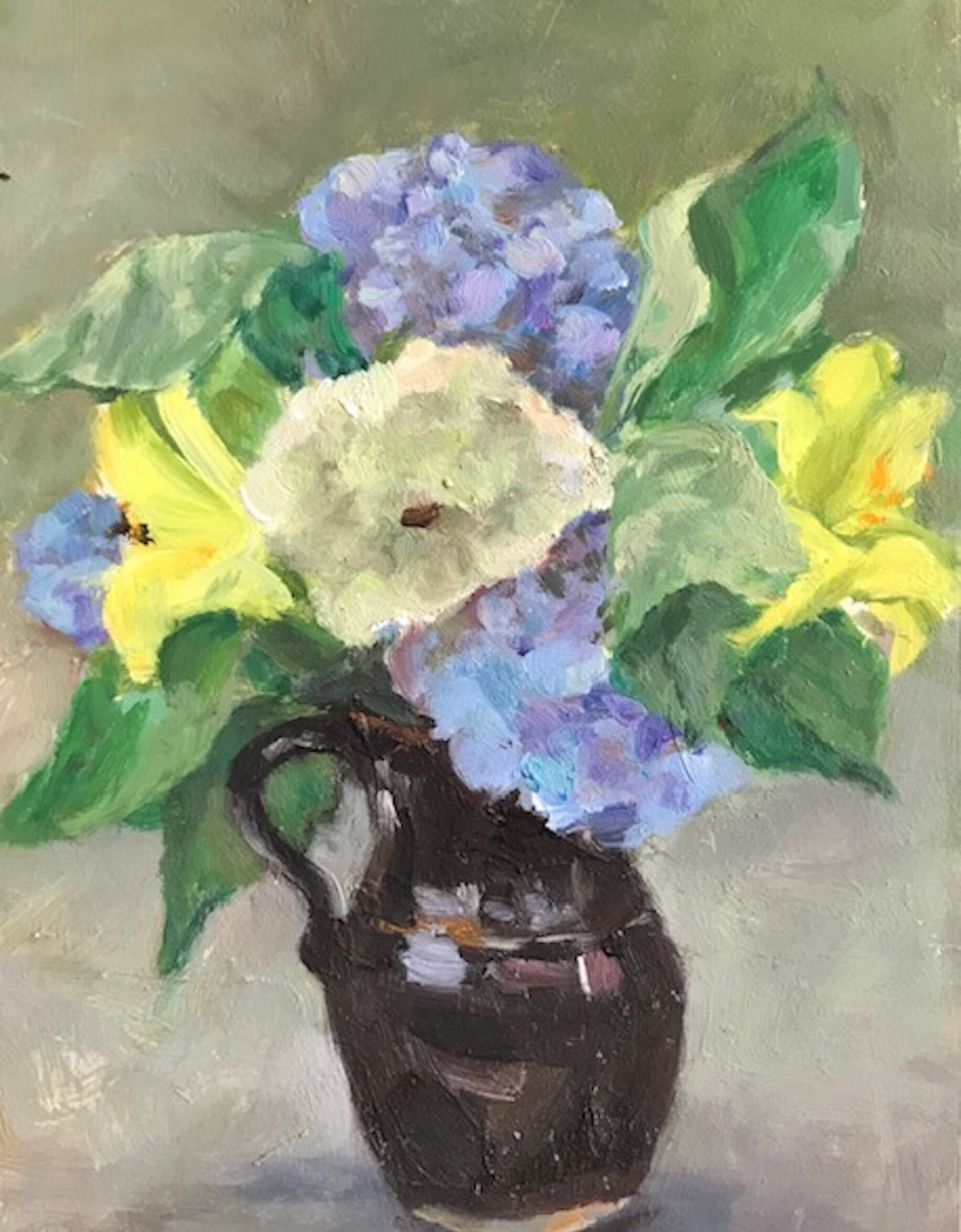 Hydrangeas and Brown Pitcher, oil on panel, 7