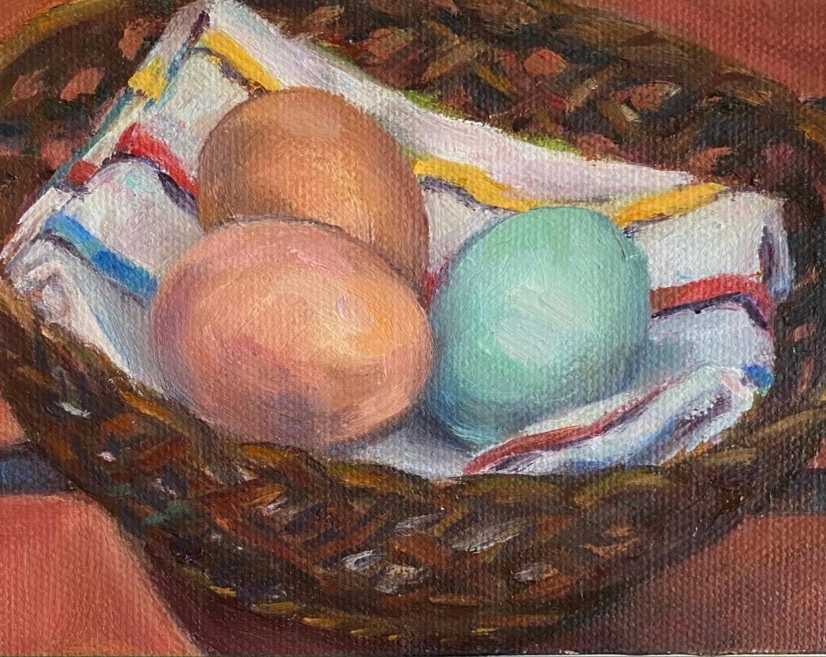 Fresh Eggs, oil on canvas, 4
