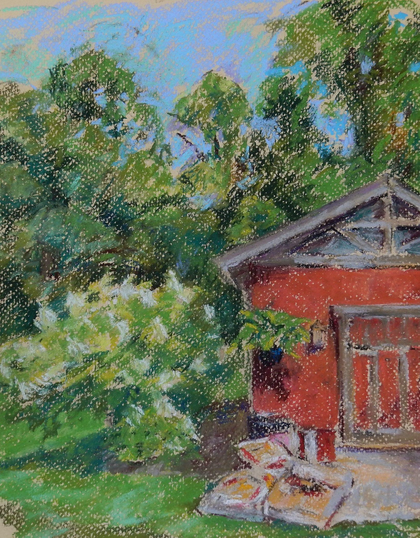 Red Barn, pastel, 11.5