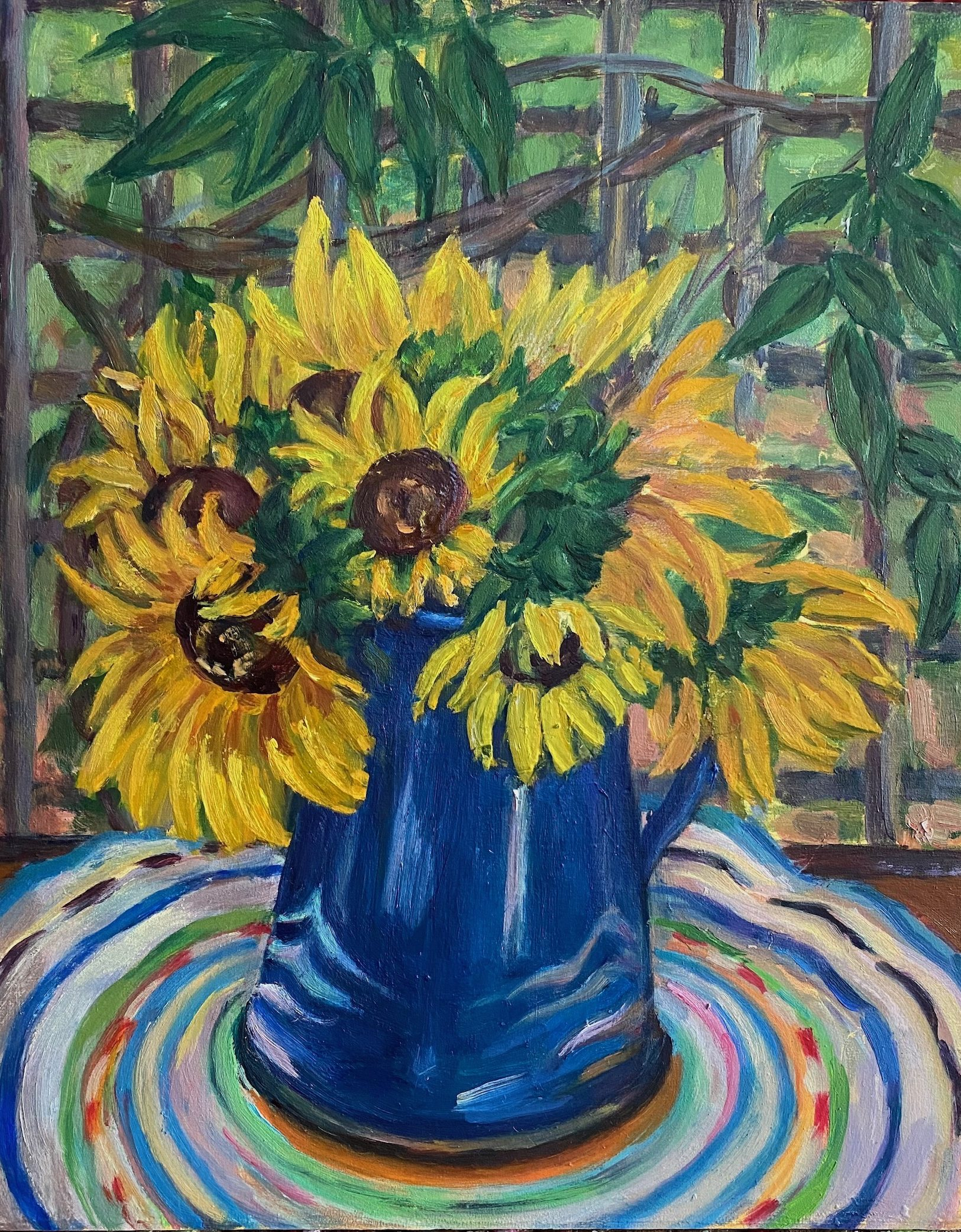 Sunflowers and Blue Coffee Pot, oil on panel, 10